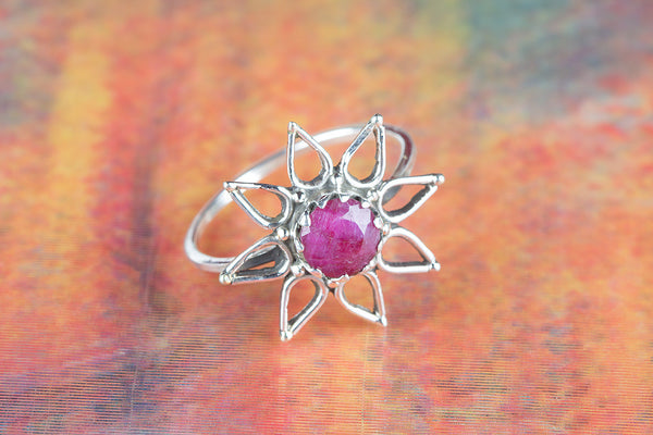 Star Shape Ruby Gemstone Silver Ring