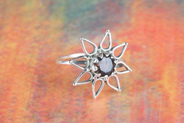 Star Shape Smoky Quartz Gemstone Silver Ring