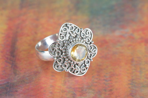 Awesome Citrine Gemstone Sterling Silver Ring,