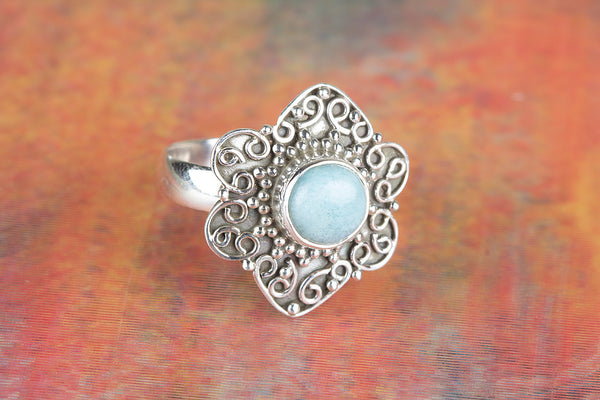 Awesome Larimar Gemstone Sterling Silver Ring,