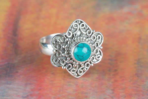 Turquoise Ring, 925 Sterling Silver, Delicate Ring, Designer Ring, Gypsy Ring, Healing Ring, Cocktail Ring, Relationship Ring, Gift Wife