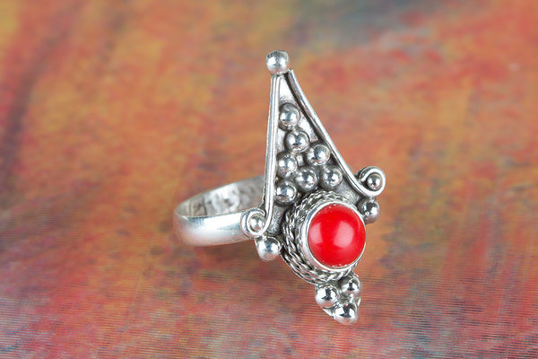Beautiful Coral Gemstone Sterling Silver Ring,