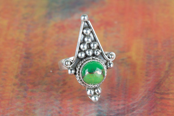 Beautiful Green Turquoise Gemstone Sterling Silver Ring,
