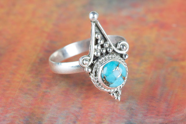 Wonderful Blue Copper Turquoise Gemstone Silver Ring