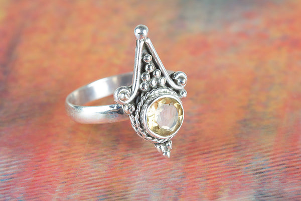 Citrine Ring 925 Silver Petite Ring Modern Designer Ring Pretty Love Ring Casual Ring Bohemian Ring Charm Ring Motivational Ring Bridesmaid Ring Victorian Ring Gift Her