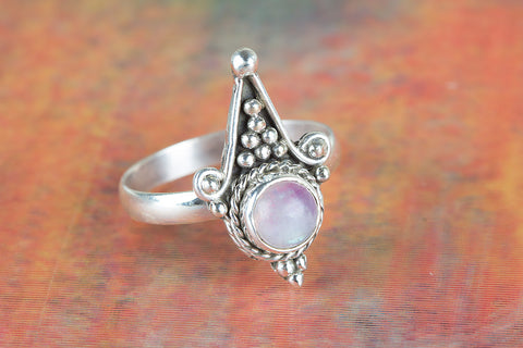 Awesome Pink Rainbow Moonstone Sterling Silver Ring,