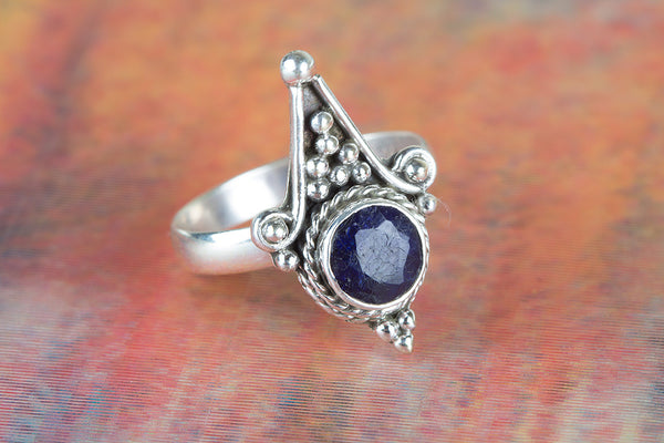 Awesome Sapphire Gemstone Sterling Silver Ring,