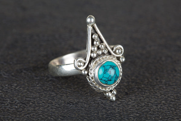 Awesome Turquoise Gemstone Sterling Silver Ring,