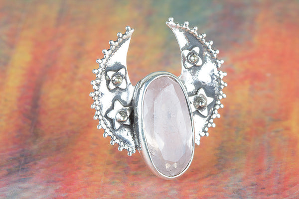 Stunning Silver Rose Quartz Gemstone Ring