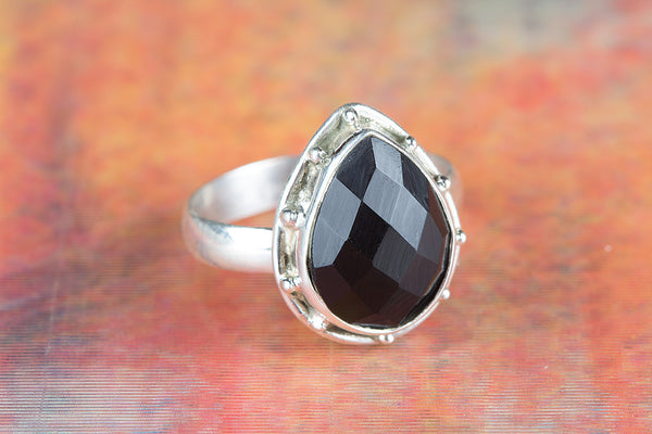 Faceted Black Onyx Ring 925 Silver Trendy Ring Antique Designer Ring Attractive Ring Pear Shape Ring Casual Ring Special Ring Pretty Love Ring Elegant Ring Party Wear Ring Delicate Ring Engagement Ring Gift Her