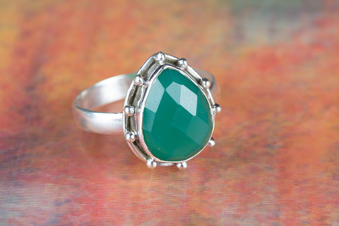 Wonderful Faceted Green Onyx Gemstone Sterling Silver Ring
