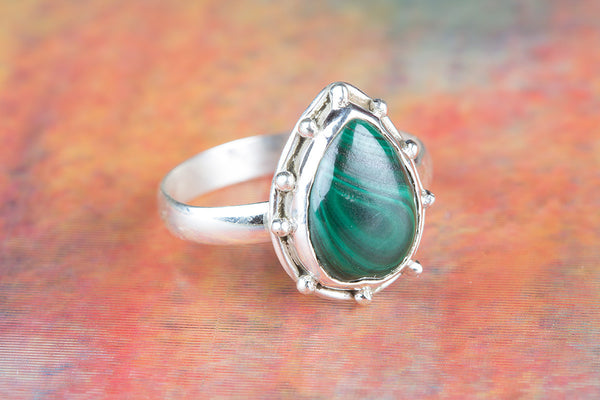 Wonderful Malachite Gemstone Sterling Silver Ring