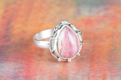 Beautiful Rhodochrosite Gemstone Sterling Silver Ring
