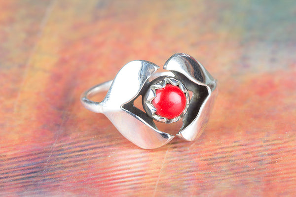 Wonderful Coral Gemstone Silver Ring
