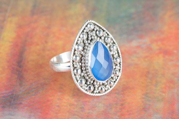 Faceted Blue Chalcedony Gemstone Sterling Silver Ring,
