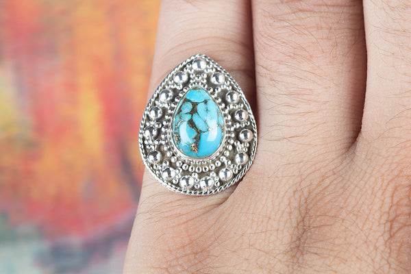 Blue Copper Turquoise Gemstone Sterling Silver Ring,