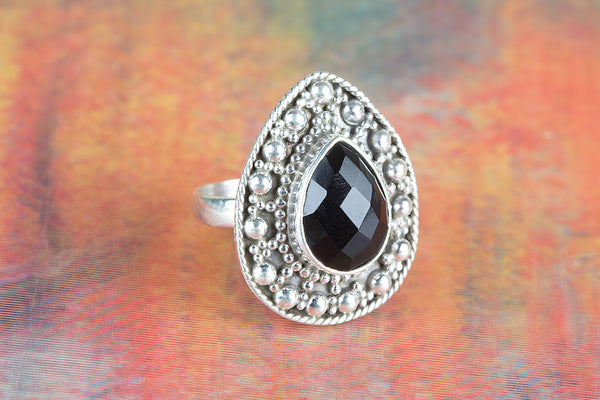 Faceted Black Onyx Gemstone Sterling Silver Ring,