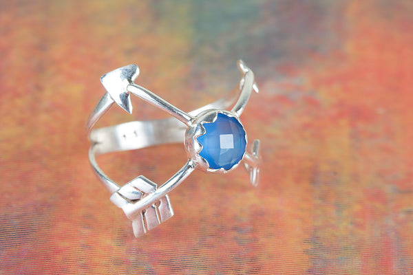 Blue Chalcedony Gemstone Sterling Silver Ring,