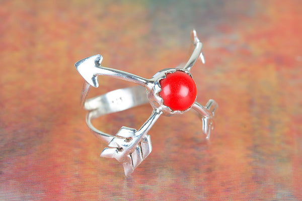 Lovely Coral Gemstone Sterling Silver Ring,