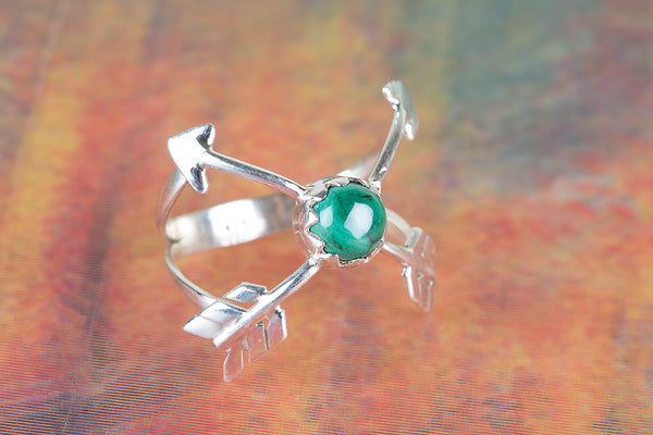Malachite Gemstone Sterling Silver Ring,