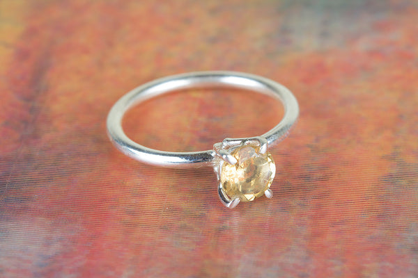 Faceted Citrine Gemstone Sterling Silver Ring,