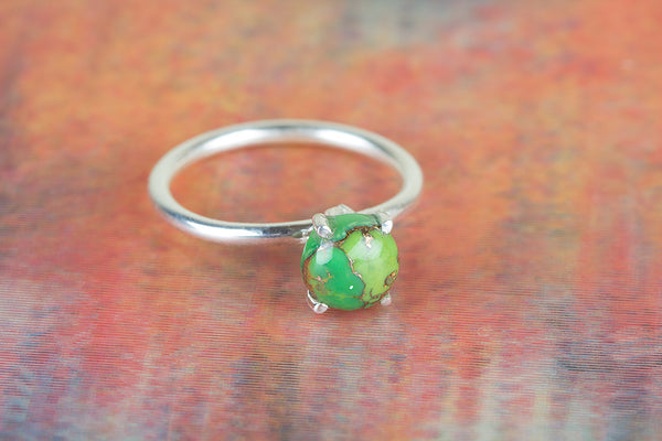 Green Turquoise Gemstone Sterling Silver Ring,