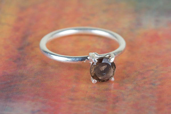 Faceted Smoky Quartz Gemstone Sterling Silver Ring,