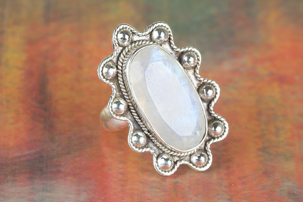 Faceted Rainbow Moonstone Gemstone Silver Ring