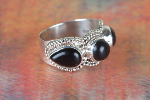 Black Onyx Ring 925 Silver Antique Gypsy Ring Wide Band Ring Three Stone Ring Casual Ring Classic Designer Ring Inspirational Ring Friendship Ring Bohemian Ring Victorian Style Ring Attractive Ring Anniversary Ring Gift Her