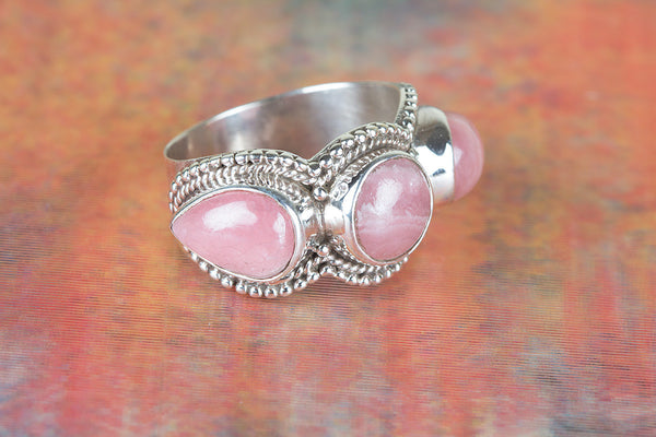 Rhodochrosite Gemstone Sterling Silver Ring