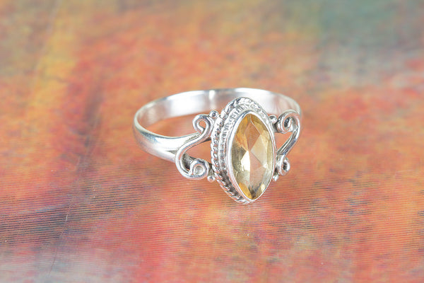 Faceted Citrine Gemstone Silver Ring