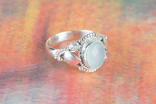 Faceted Aqua Chalcedony Gemstone Silver Ring