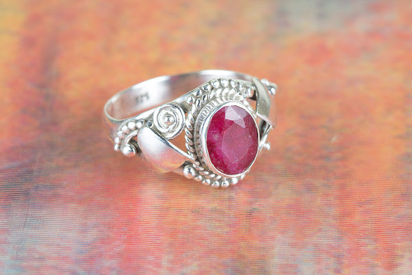 Ruby Ring, 925 Sterling Silver, Mermaid Gift, Vintage Jewelry, Delicate Ring, Wedding Ring, Anniversary Gift Ring, Gift For Her