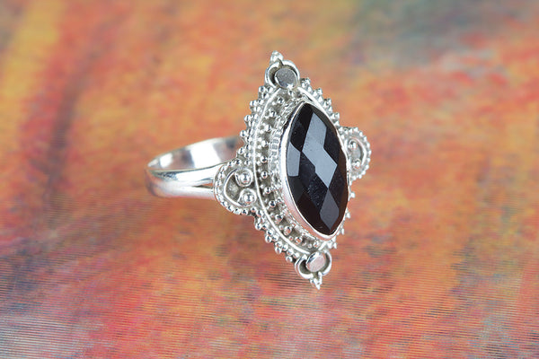 Faceted Black Onyx Gemstone Silver Ring