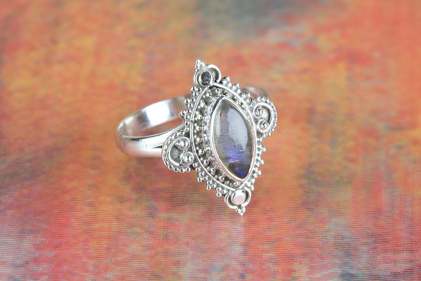 Natural Labradorite Ring, 925 Sterling Silver, Antique Designer Ring, Healing Ring, Victorian Ring, Marquoise Shape Ring, Elegant Ring, Trendy Ring, Inspirational Ring, Bohemian Ring, Latest Design Ring, Relationship Ring, Gift her.