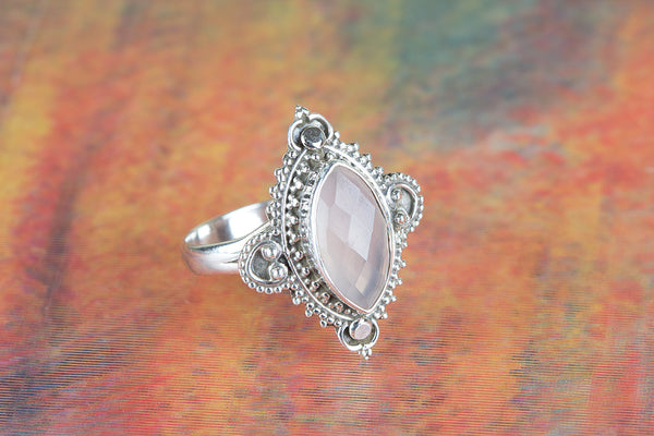 Faceted Rose Quartz Ring 925 Silver Alternative Ring Gypsy Ring Delicate Ring Classic Ring Charm Ring Bride Ring Eye Catch Ring Attract Ring Classic Ring Elegant Ring Engagement Ring Wedding Ring Gift Her