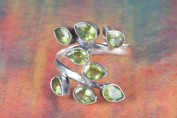 Chunky Faceted Peridot Gemstone Sterling Silver Ring,