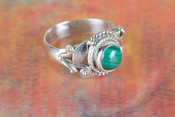 Malachite Gemstone Sterling Silver Ring