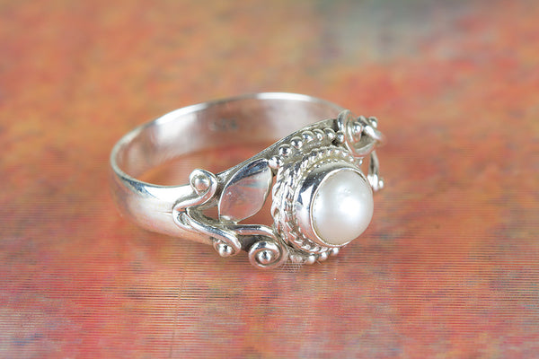 Pearl Gemstone Sterling Silver Ring