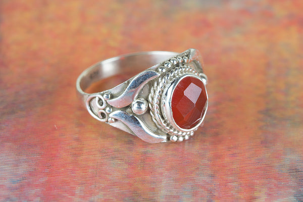 Faceted Carnelian Gemstone Silver Ring