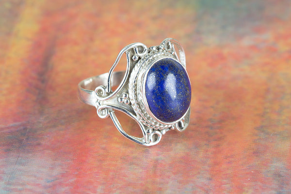 Lapis Lazuli Ring, 925 Silver, Petite Ring, Handmade Ring, Blue Gemstone Ring, Unique Stylish Ring, Yoga Ring, Inspirational Ring, Eye Catch Ring, , Alternative Ring, Classic Design Ring, Natural Gemstone Ring, Unique Ring, Girlfriend Ring, Gift Her