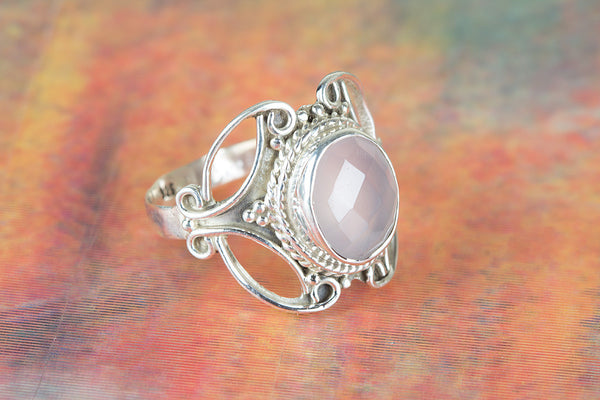Faceted Rose Quartz Ring 925 Silver Petite Ring Alternative Ring Gypsy Ring Statement Ring Granulation Ring Delicate Ring Classic Ring Attract Ring Eye catch Ring Engagement Ring Wedding Ring Gift Her