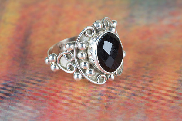 Faceted Black Onyx Ring 925 Silver Petite Ring Elegant Ring Party Wear Ring Inspirational Ring Charm Ring Rare Ring Yoga Ring Occasion Ring Victorian Ring Casual Ring Gift Her.