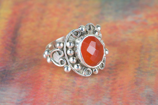 Wonderful Carnelian Gemstone Sterling Silver Ring