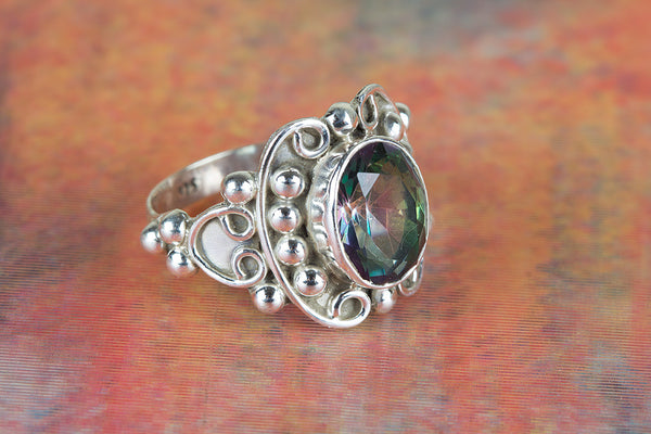 Beautiful Mystic Topaz Gemstone Sterling Silver Ring,,