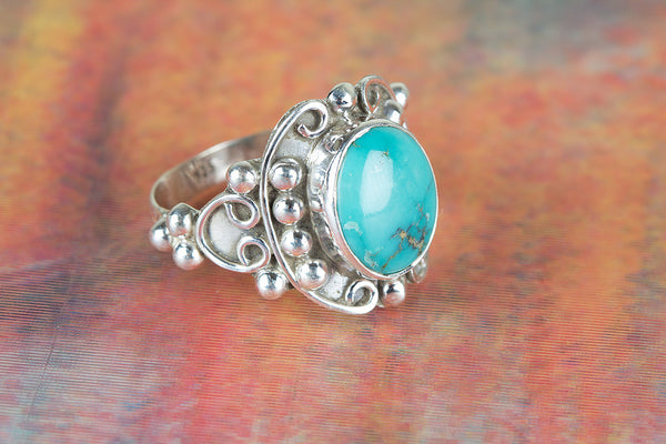 Stunning Natural Turquoise Gemstone Silver Ring