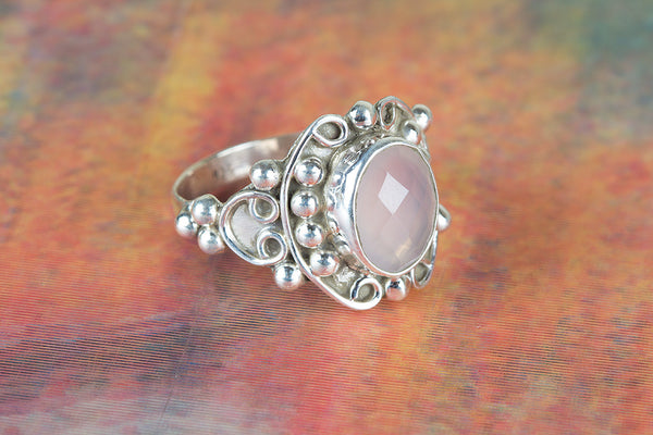 Faceted Rose Quartz Ring 925 Silver Dainty Ring Stylish Purpose Ring Pretty Love Ring Alternative Ring Exclusive Ring Vintage Ring Gypsy Ring Eye Catch Ring Elegant Wedding Ring Gift Her