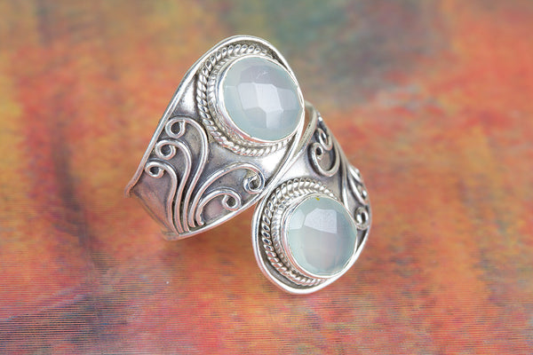 Amazing Faceted Aqua Chalcedony Gemstone Silver Ring,