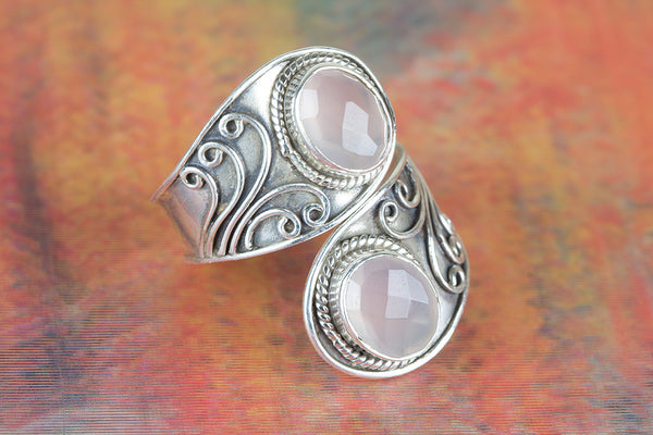 Faceted Rose Quartz Ring 925 Silver Dainty Ring Adjustable Ring Stylish Ring Bohemian Ring Delicate Ring Daily Wear Ring Eye Catch Ring Bridesmaid Ring Elegant Ring Engagement Ring Girlfriend Ring Gift.