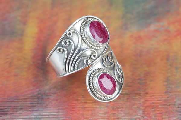 Ruby Ring, Sterling Silver, July Birthstone, Gypsy Boho look, Unique Piece, Traditional Ring, Adjustable Ring, Dainty Ring, Vintage Ring